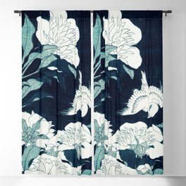 JAPANESE FLOWERS Midnight Blue Teal Blackout Curtain