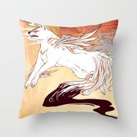 okami Throw Pillows featuring Okami by Weissidian