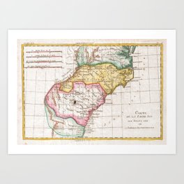 Vintage Map of The Carolinas (1780) Art Print