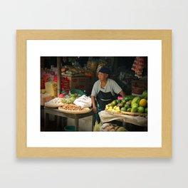 Vegetable Stand. Java, Indonesia. Framed Art Print