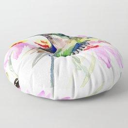 Hummingbird and Light Purple Flowers, birds and flowers Floor Pillow
