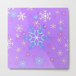 LILAC PURPLE WINTER SNOWFLAKES Metal Print