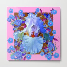 PASTEL IRIS & BLUE MORNING GLORIES PINK PATTERNS Metal Print