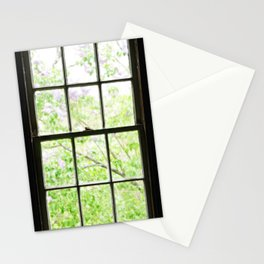 Purple and Green Lilacs Through the Barn Window Stationery Cards