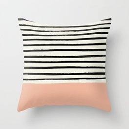 Peach x Stripes Throw Pillow
