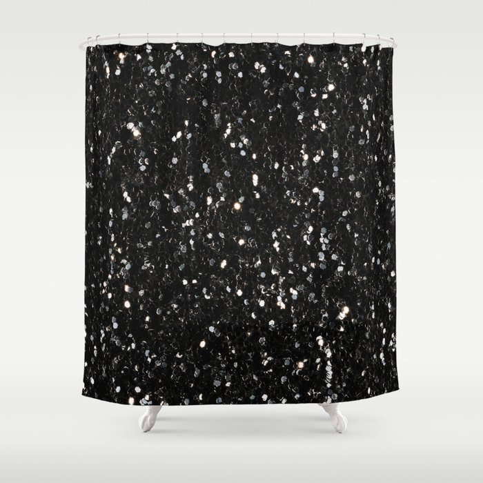 Black and white shiny glitter sparkles Shower Curtain by pldesign ...