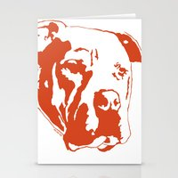 pitbull Stationery Cards featuring COACH - ORANGE by Kirk Scott