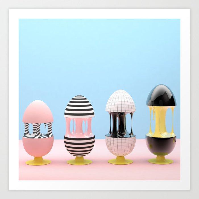 Los huevos y la gravedad Art Print
