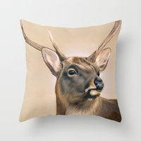 elk Throw Pillows featuring Elk by HeatherAckley