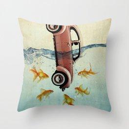 Bug and goldfish Throw Pillow