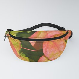 Summery Pink and Green Leaves Fanny Pack