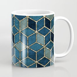 Shades Of Turquoise Green & Blue Cubes Pattern Coffee Mug