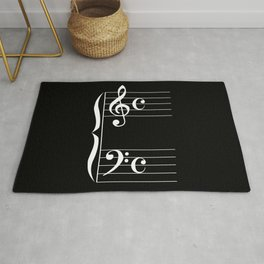 Bass And Treble Clef  Background Rug