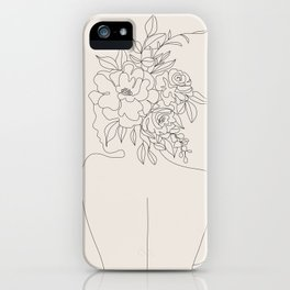 Woman with Flowers Minimal Line I iPhone Case