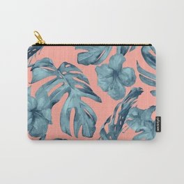 Island Life Teal on Coral Pink Carry-All Pouch