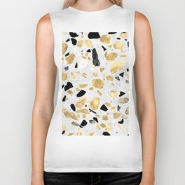 Classy gold vintage marble abstract Terrazzo Biker Tank