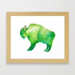 Green Bison Framed Art Print