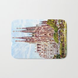 La Sagrada Familia watercolor Bath Mat