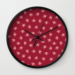 Crazy Happy Uterus in Red, small repeat Wall Clock