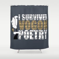 poetry Shower Curtains featuring Vogon Poetry by Ryan McCondach