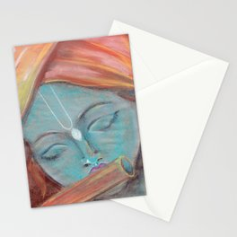 Lord Krishna pastel painting from Russia Stationery Cards