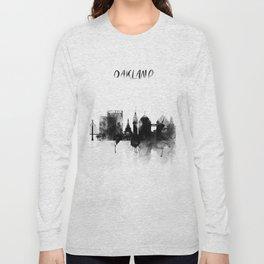 Oakland Black and White Skyline poster Long Sleeve T-shirt