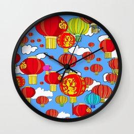 Red Sky Lanterns Wall Clock