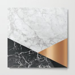 White Marble Black Granite & Rose Gold #715 Metal Print