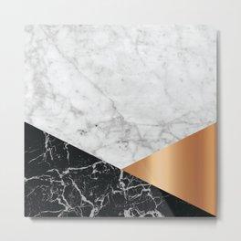 Geometric White Marble - Black Granite & Rose Gold #715 Metal Print