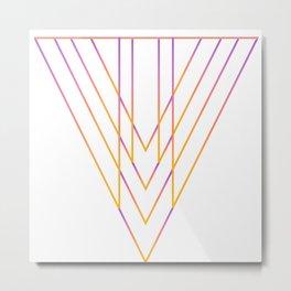 Orange pink triangle linear abstract geo Metal Print