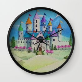 Colorful Princess Castle Wall Clock