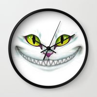 cheshire cat Wall Clocks featuring Cheshire  by Alice Of Wonderland