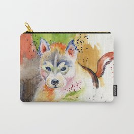 Little Wolf Watercolor Carry-All Pouch