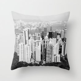 Hong Kong Cityscape // Sky Scraper Skyline Landscape Photography Black and White Buildings Throw Pillow