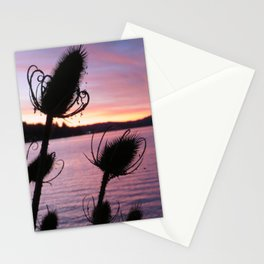Thistle Silhouette Sunset Reflections Stationery Cards