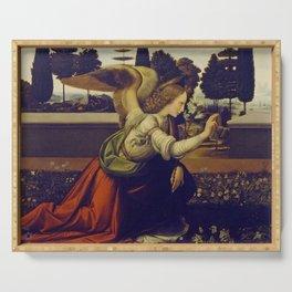 """Leonardo da Vinci """"Annunciation"""" The Archangel Gabriel Serving Tray"""