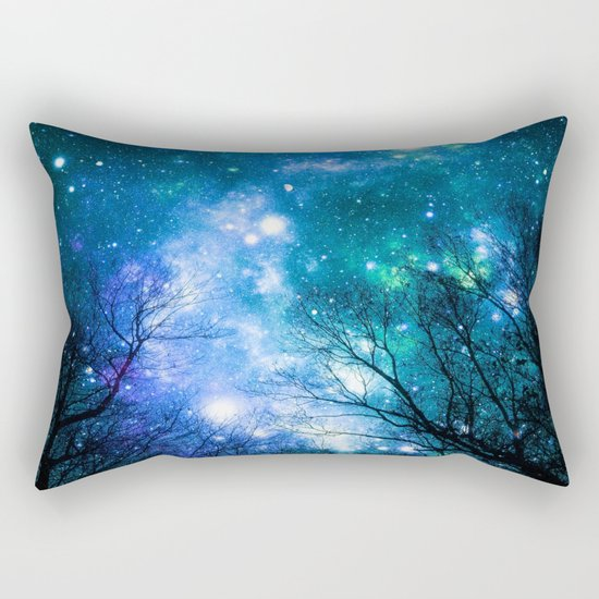 Black Trees Blue Turquoise Teal Space Rectangular Pillow