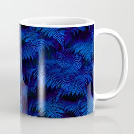Deep Blue Fern Plant Wall Coffee Mug