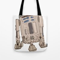 r2d2 Tote Bags featuring R2D2 by colleencunha