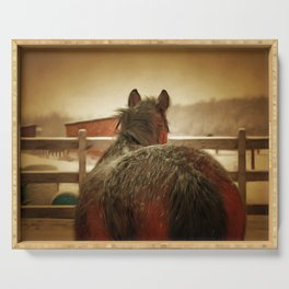 Horse Along a Fence with Snow in Winter. Golden Age Painting Style. Serving Tray