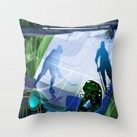 hockey Throw Pillows featuring Hockey by Robin Curtiss