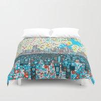 houston Duvet Covers featuring houston city skyline by Bekim ART