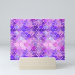 Ultra Violet & Gold Mermaid Scale Pattern Mini Art Print