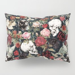 Vintage Floral With Skulls Pillow Sham
