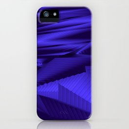 Diffuse landscap with stylised mountains, sea and blue Sun. iPhone Case
