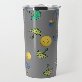 cats and smiled faces pattern Travel Mug