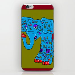 Blue Elephant with Pink Fleur de Lis iPhone Skin