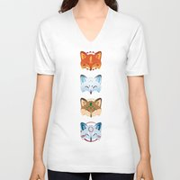 foxes V-neck T-shirts featuring Foxes by Kiteytetty