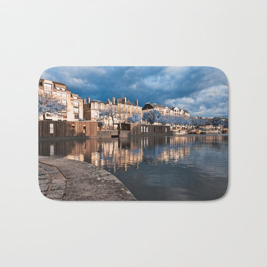 Nantes Riverside Scenery - Winter Blue Fantasy Bath Mat