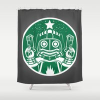 star lord Shower Curtains featuring Star Lord Coffee by LavaLamp Creative